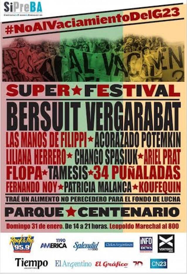 Festival solidario de los trabajadores en contra el vaciamiento del Grupo Veintitrés
